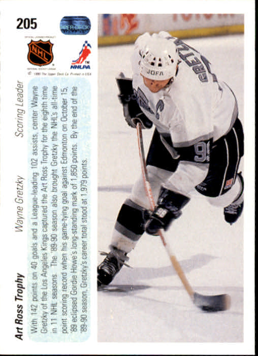 1990-91 Upper Deck #205 Wayne Gretzky Ross back image