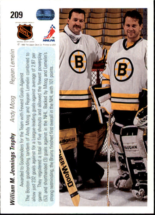 1990-91 Upper Deck #209 William Jennings Trophy/Andy Moog/Reggie Lemelin back image