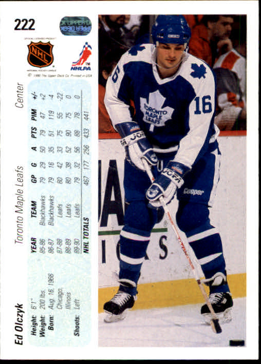 1990-91 Upper Deck #222 Ed Olczyk back image