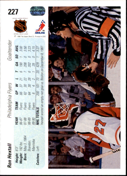 1990-91 Upper Deck #227 Ron Hextall back image