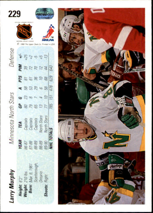 1990-91 Upper Deck #229 Larry Murphy back image