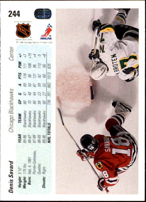 1990-91 Upper Deck #244 Denis Savard back image