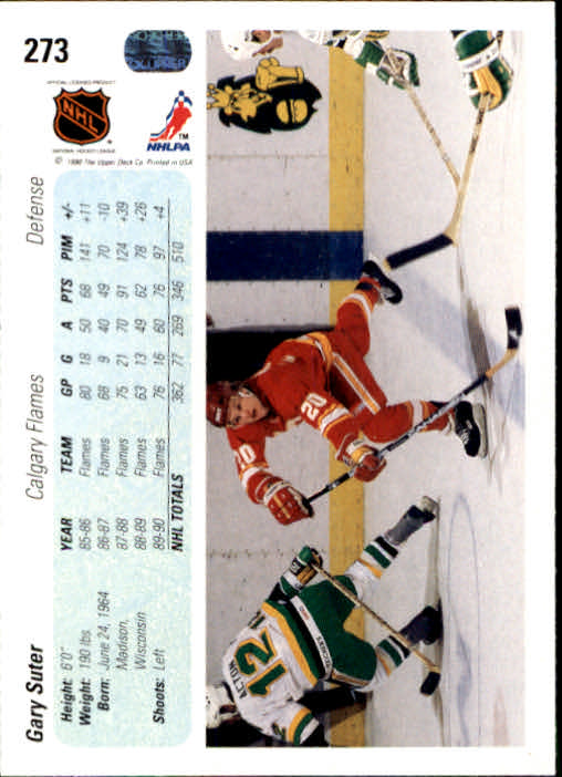 1990-91 Upper Deck #273 Gary Suter back image