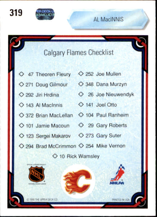 1990-91 Upper Deck #319 Al MacInnis TC back image