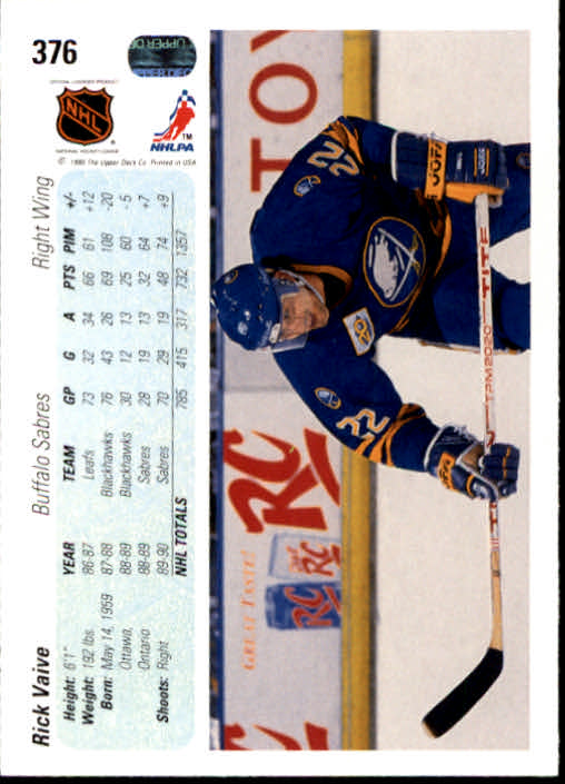 1990-91 Upper Deck #376 Rick Vaive back image