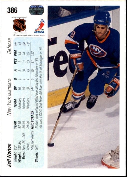 1990-91 Upper Deck #386 Jeff Norton back image