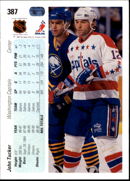 1990-91 Upper Deck #387 John Tucker back image