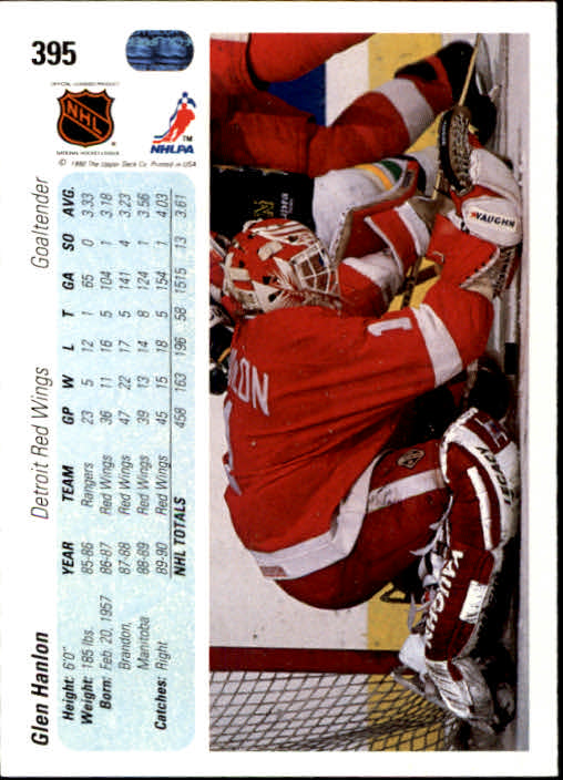 1990-91 Upper Deck #395 Glen Hanlon back image