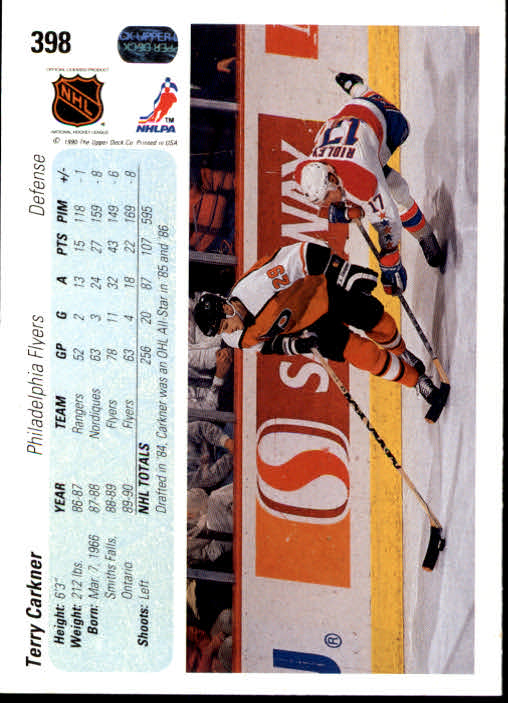 1990-91 Upper Deck #398 Terry Carkner back image