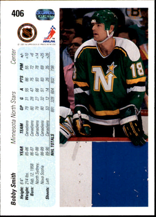 1990-91 Upper Deck #406 Bobby Smith back image
