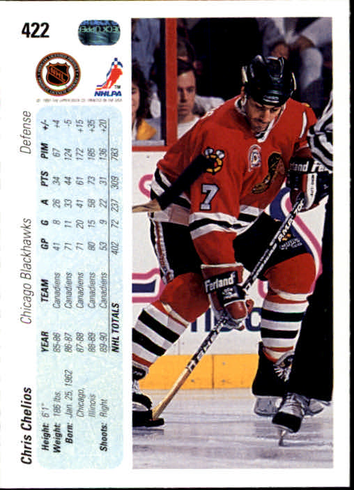 1990-91 Upper Deck #422 Chris Chelios back image