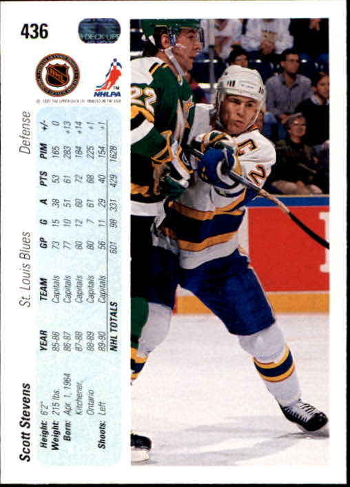 1990-91 Upper Deck #436 Scott Stevens back image