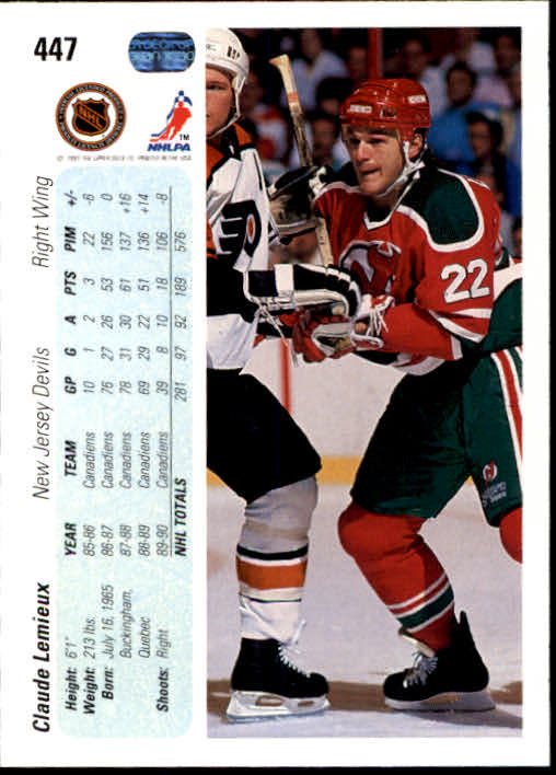 1990-91 Upper Deck #447 Claude Lemieux back image