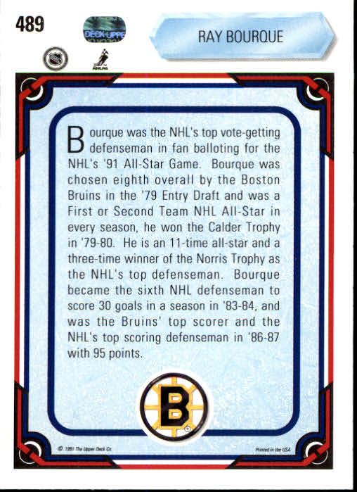 1990-91 Upper Deck #489 Ray Bourque AS back image