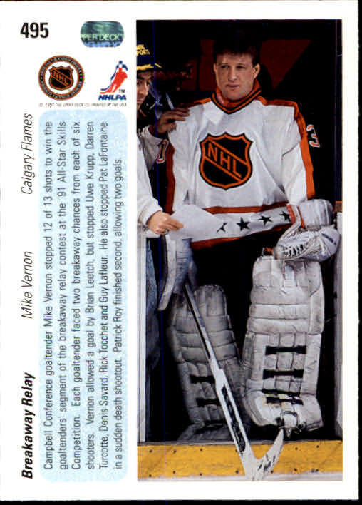 1990-91 Upper Deck #495 Mike Vernon AS back image