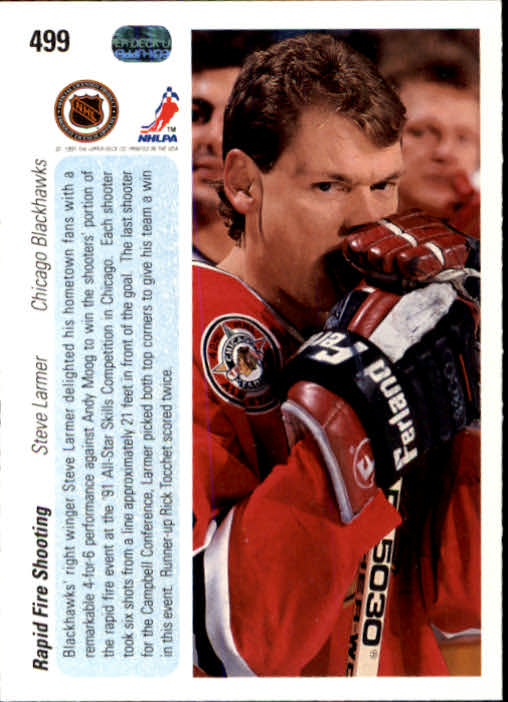 1990-91 Upper Deck #499 Steve Larmer AS back image