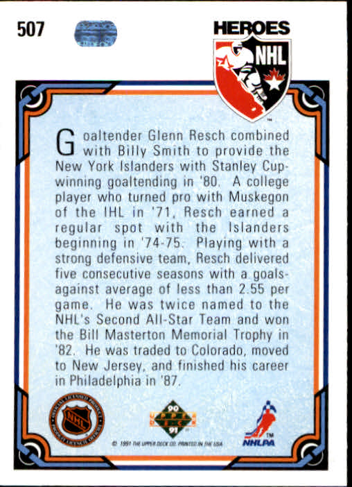 1990-91 Upper Deck #507 Glenn Resch HERO