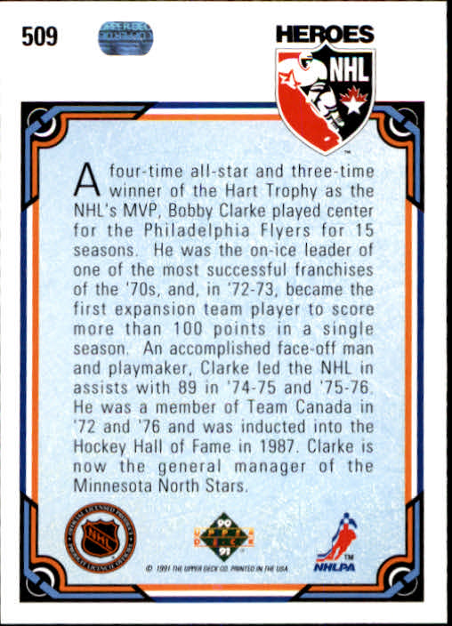 1990-91 Upper Deck #509 Bobby Clarke HERO back image