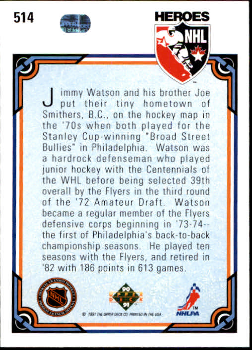 1990-91 Upper Deck #514 Jimmy Watson HERO back image