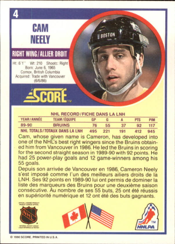 1990-91 Score Canadian #4 Cam Neely back image