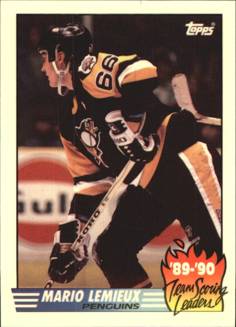 1990-91 Topps Team Scoring Leaders #17 Mario Lemieux