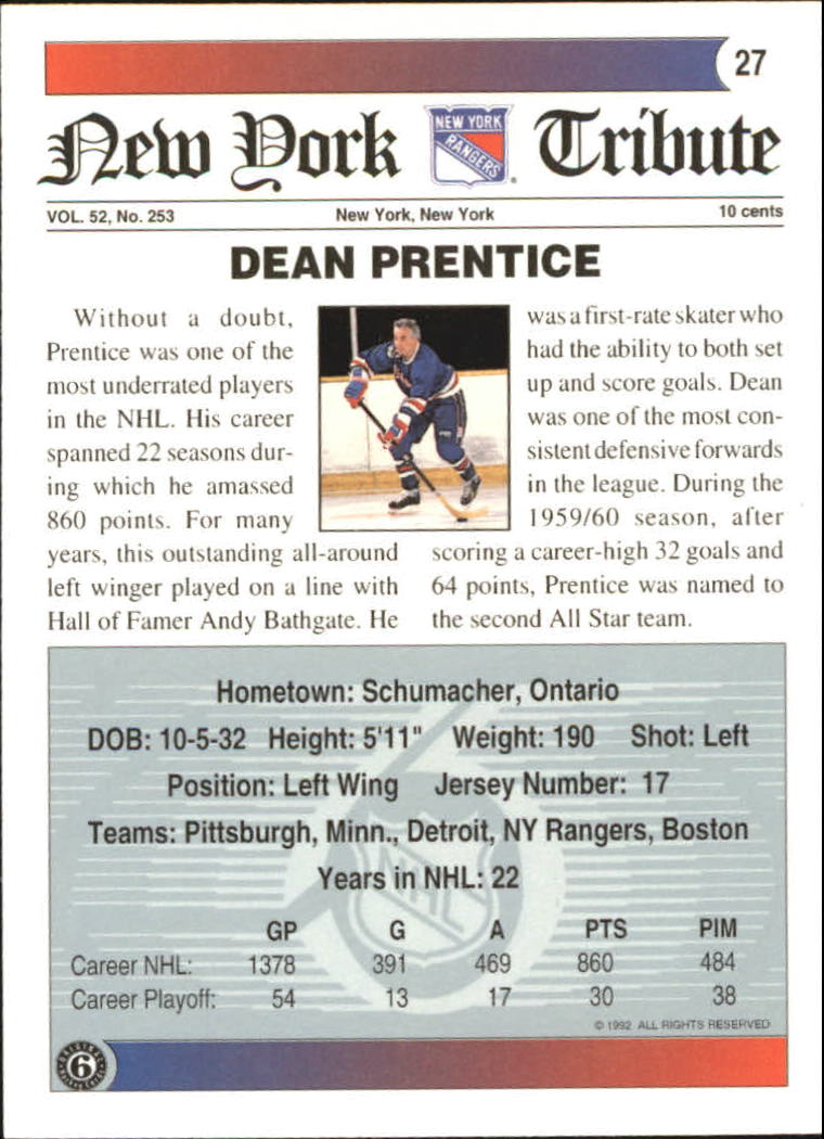 1991-92 Ultimate Original Six #27 Dean Prentice back image