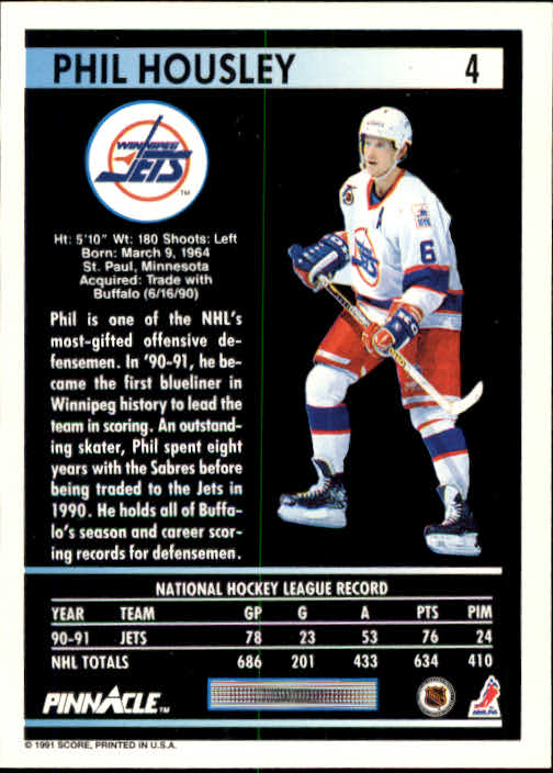 1991-92 Pinnacle #4 Phil Housley back image