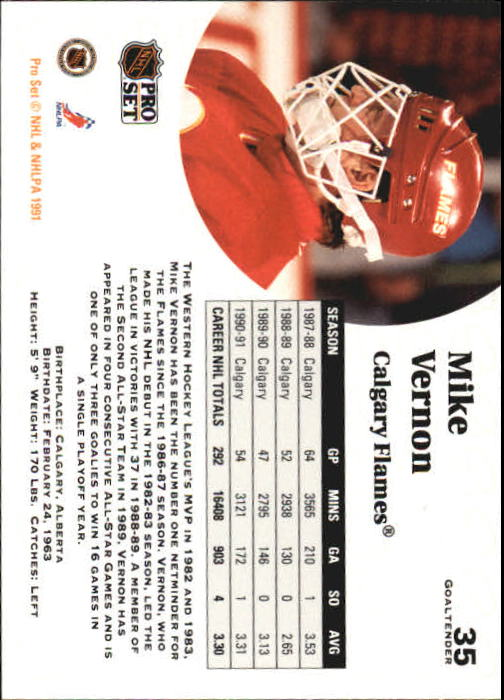 1991-92 Pro Set #35 Mike Vernon back image