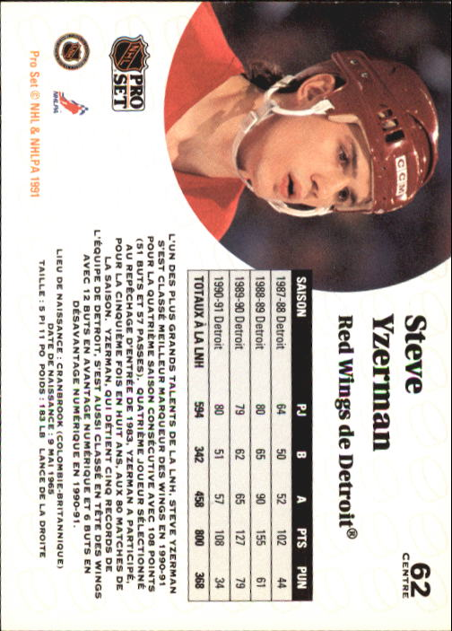 1991-92 Pro Set #62 Steve Yzerman back image