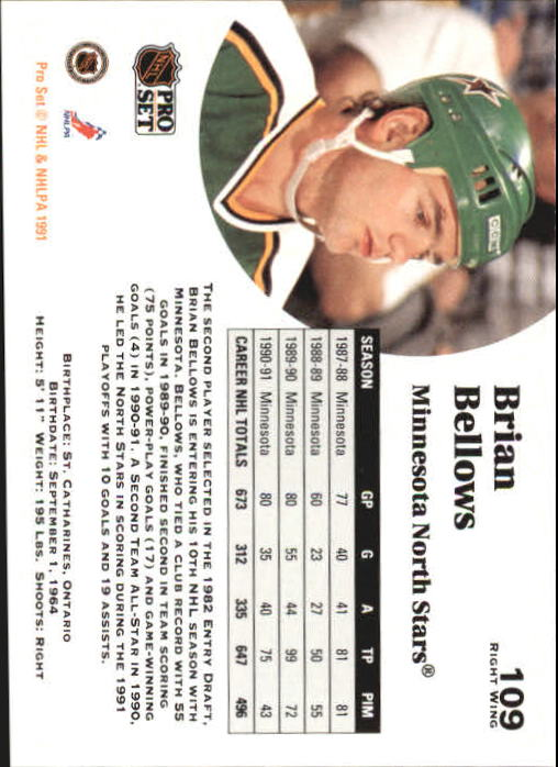 1991-92 Pro Set #109 Brian Bellows back image