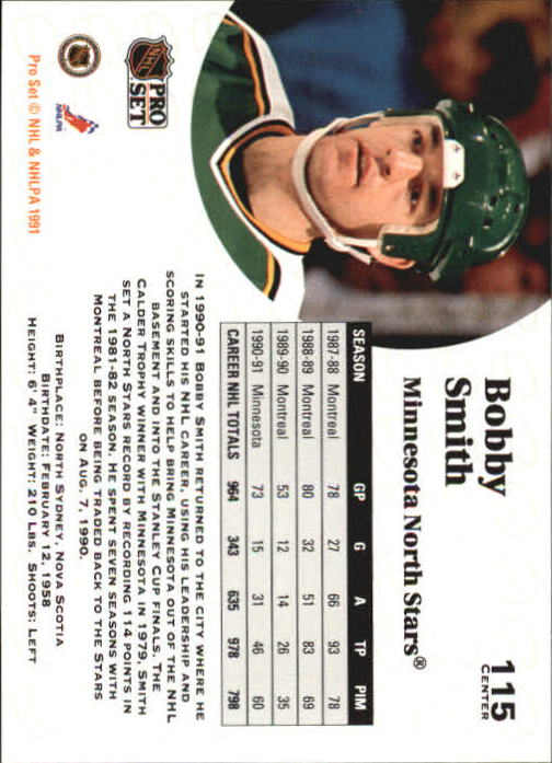 1991-92 Pro Set #115 Bobby Smith back image