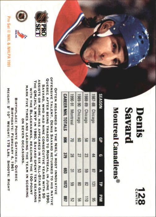 1991-92 Pro Set #128 Denis Savard back image