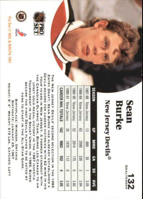 1991-92 Pro Set #132 Sean Burke back image