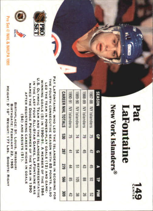 1991-92 Pro Set #149 Pat LaFontaine back image