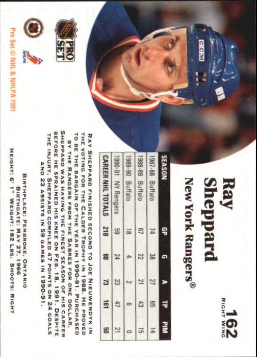 1991-92 Pro Set #162 Ray Sheppard back image
