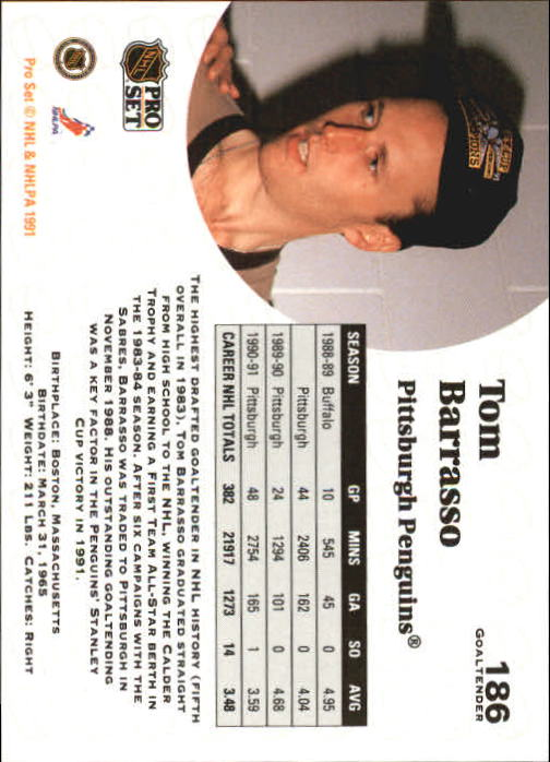 1991-92 Pro Set #186 Tom Barrasso back image