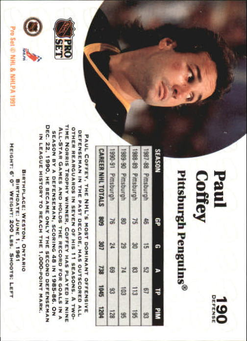 1991-92 Pro Set #190 Paul Coffey back image