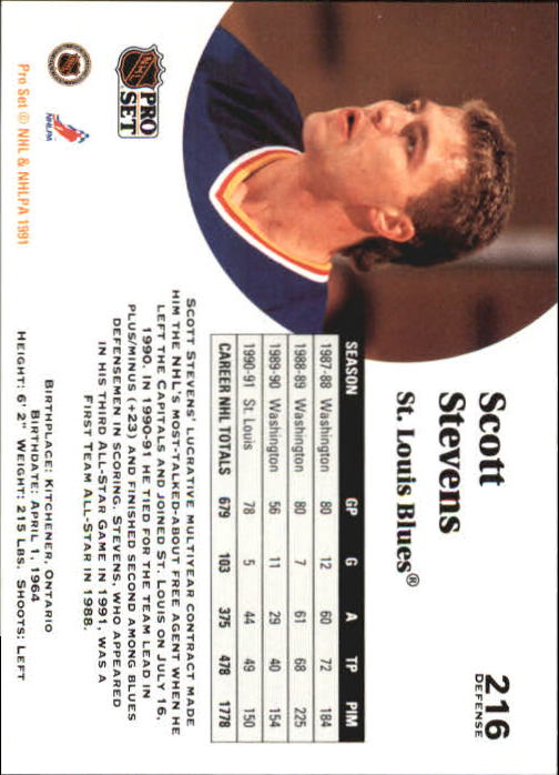 1991-92 Pro Set #216 Scott Stevens back image