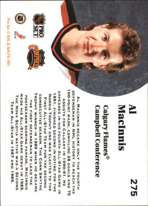 1991-92 Pro Set #275 Al MacInnis AS back image