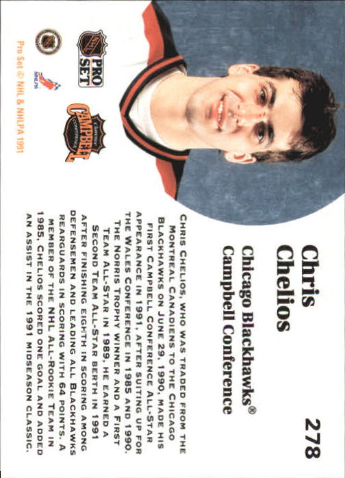 1991-92 Pro Set #278 Chris Chelios AS back image