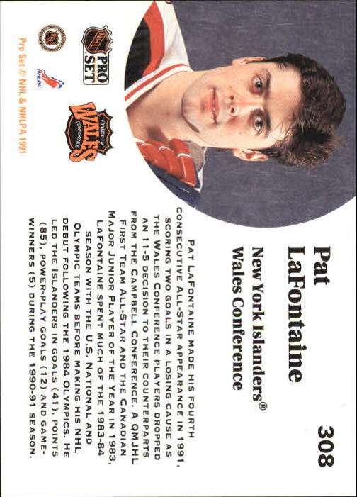 1991-92 Pro Set #308 Pat LaFontaine AS back image