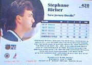 1991-92 Pro Set #420 Stephane Richer back image