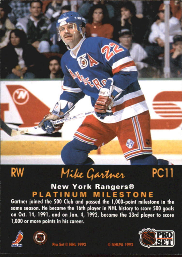 1991-92 Pro Set Platinum PC #PC11 Mike Gartner back image