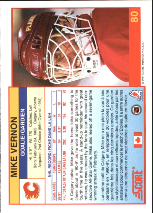 1991-92 Score Canadian Bilingual #80 Mike Vernon back image