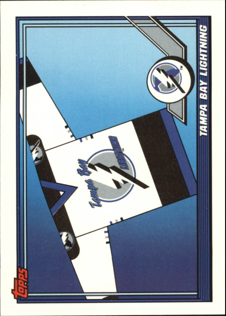 1991-92 Topps #526 Tampa Bay Lightning Logo/(Back incorrectly reads team will/ play in Orlando instead of Tampa Expo Hall)