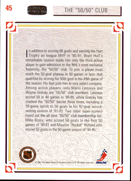1991-92 Upper Deck #45 The 50/50 Club back image