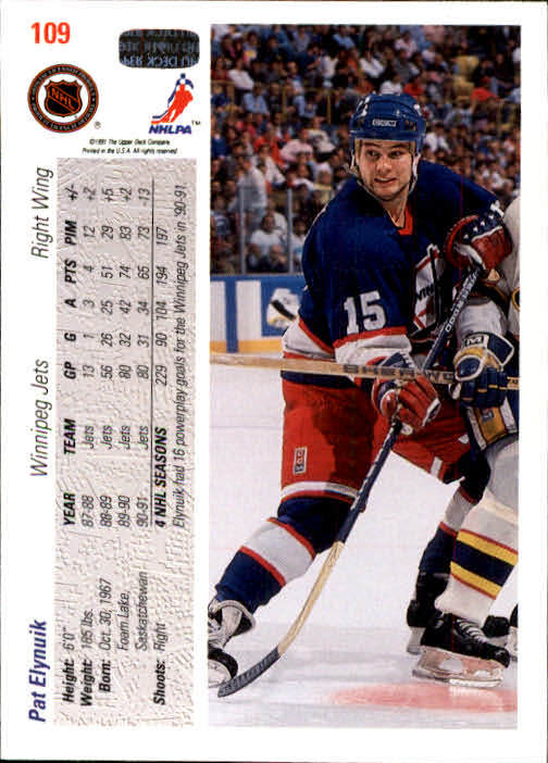 1991-92 Upper Deck #109 Pat Elynuik back image