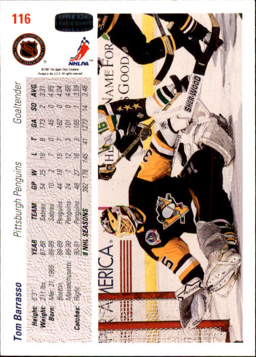 1991-92 Upper Deck #116 Tom Barrasso back image
