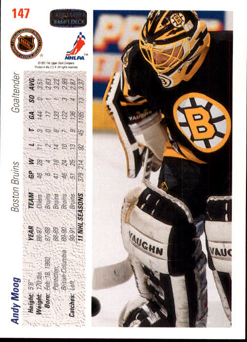 1991-92 Upper Deck #147 Andy Moog back image