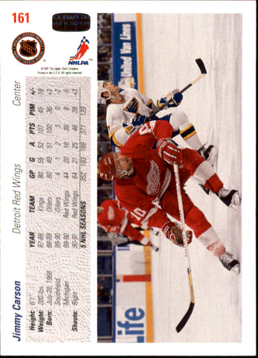 1991-92 Upper Deck #161 Jimmy Carson back image